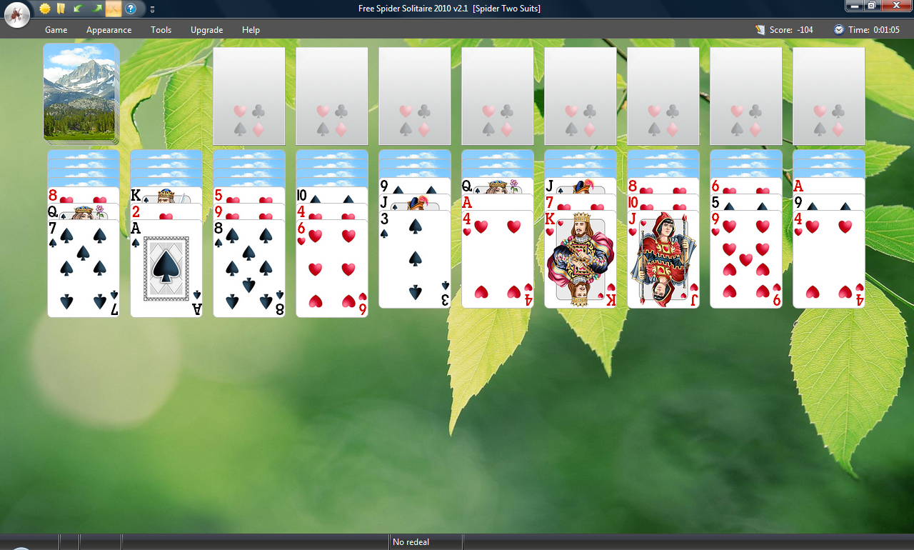 free spider solitaire 2 decks with a card